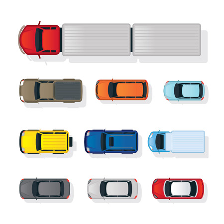 Cars and truck Various Type Top or Above View Set, Colorful, Automobile and Transportation