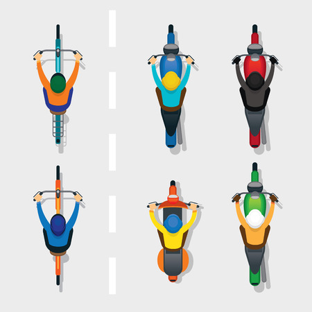 オートバイと自転車のトップや道路、自動車、輸送上のビューの上の人々
