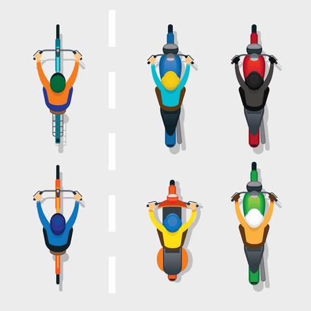 Mensen op motorfietsen en fietsen boven of boven bekijken, op de weg, auto's en transport Stock Illustratie