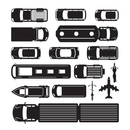Fahrzeuge, Autos und Transport in Top- oder Oben-Ansicht, Silhouette, Transportmittel, Öffentlichkeit und Messe