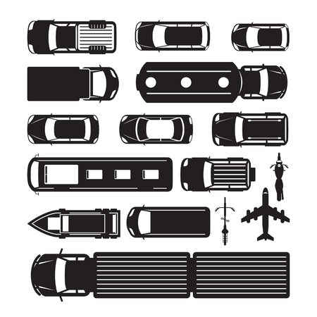 Vehicles, Cars and Transportation in Top or Above View, Silhouette, Mode of Transport, Public and Mass Vectores