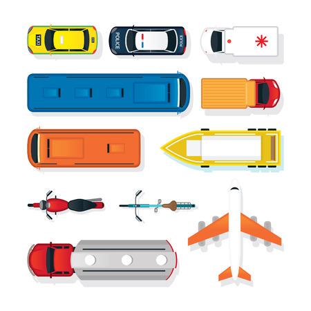 Vehículos, automóviles y transporte en la vista superior o superior, modo de transporte público y de masas