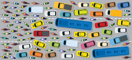 Cars on Road with Traffic Jam Chaotic, Motorcycles, Bus, Taxi, Top or Above View Vectores