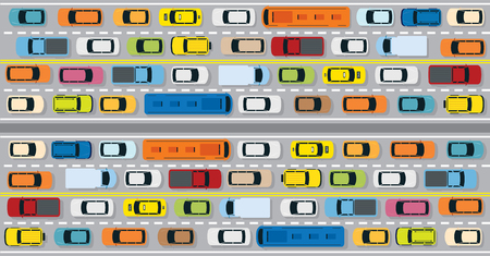 Vehicles on Road with Traffic Jam , Cars, Bus, Taxi, Truck, Top or Above View Illustration