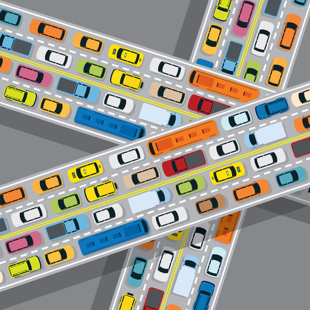 Vehicles on Road with Traffic Jam, Cars, Bus, Taxi, Truck, Top or Above View