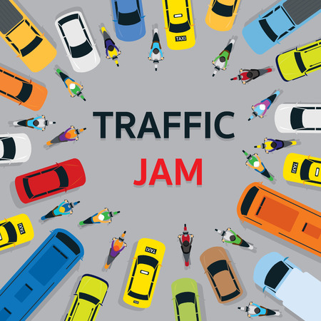 Vehicles on Road with Traffic Jam Top or Above View, Cars, Bus, Taxi, Truck, Frame
