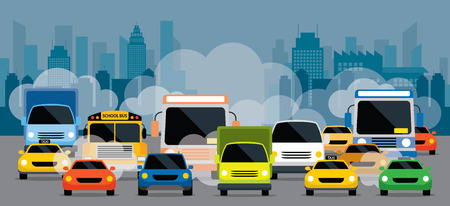 Vehicles on Road with Traffic Jam Pollution, Front View with City Background Vectores