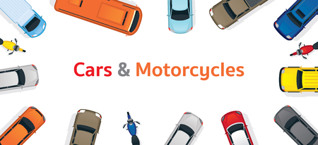 Cars and Motorcycles  Top or Above View Frame, Various Type, Automobile and Transportation