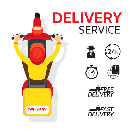 Delivery Boy Ride Scooter Motorcycle , Top or Above View with Service Icons