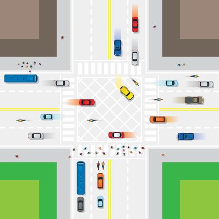Carretera y empalme con personas y vehículos, tráfico, arriba o arriba de la vista Foto de archivo - 85276667