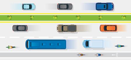 Voertuigen op de weg met fietsbaan, verkeer, boven of bovenaanzicht