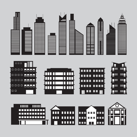 condominium: Buildings and Skyscrapers Object Silhouette Set, Cityscape, Residential, Condominium, Apartment, Office
