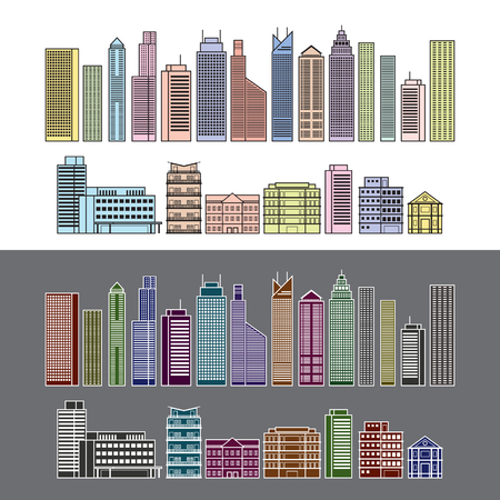condominium: Buildings and Skyscrapers Object Line Colour Set, Cityscape, Residential, Condominium, Apartment, Office Illustration