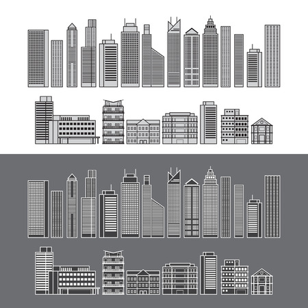 condominium: Buildings and Skyscrapers Object Line Set, Cityscape, Residential, Condominium, Apartment, Office
