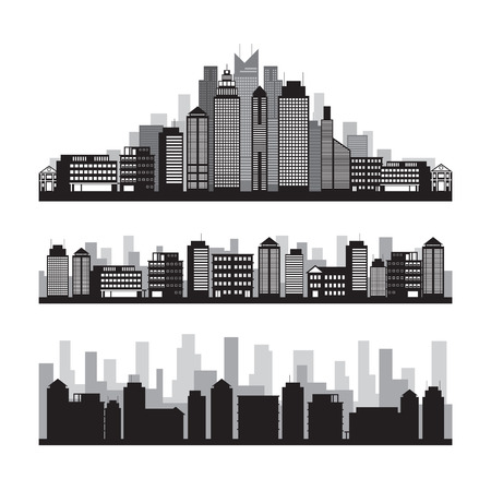 condominium: Buildings and Skyscrapers Silhouette Set, Cityscape, Residential, Condominium, Apartment, Office Illustration