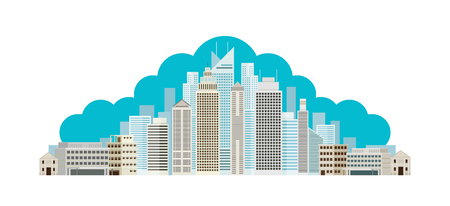 Buildings and Skyscrapers Cloud Background, Cityscape, City, Urban, Residential