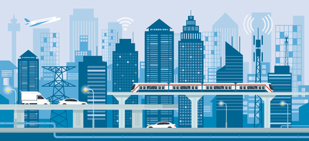 Cityscape with Infrastructure and Transportation, Smart City, Connected, Energy and Power Concept Vektorové ilustrace