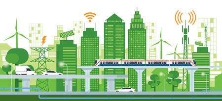 インフラと交通、スマートシティ、コネクテッド、グリーン、クリーンエネルギーのコンセプトによる都市の景観