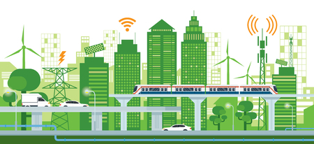 Cityscape with Infrastructure and Transportation, Smart City, Connected, Green and Clean Energy Concept