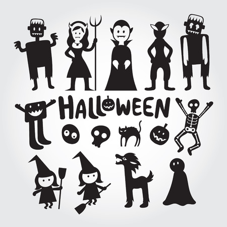Halloween Monster Characters Set, Silhouette, Black and White, Shape