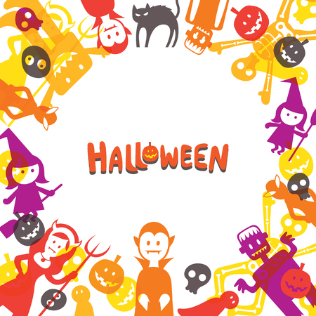 Halloween Monster Characters Frame, Shape and Colorful Vector Illustration