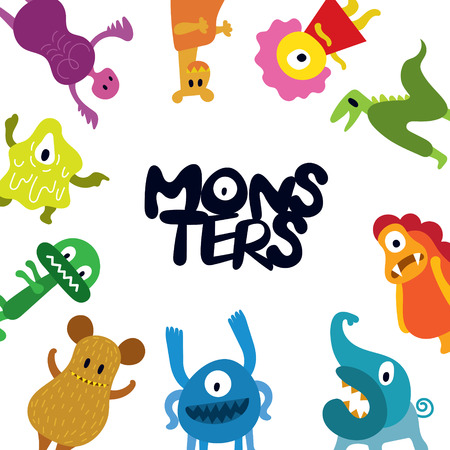 Cute Monsters Cartoon Characters Frame, Stand Around, Colorful Vector Illustration