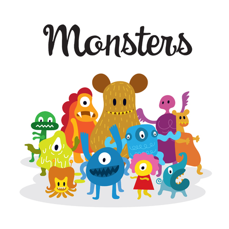 Group of Cute  Monsters Cartoon Characters with Text, Colorful Vector Illustration Illustration