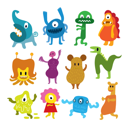Cute Monsters Cartoon Characters Set, Colorful Vector Illustration