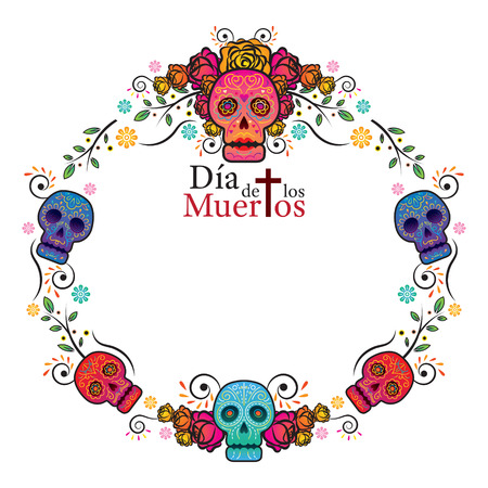 Day of the Dead Skull Frame, Colorful and Gradient, Men and Women Illustration