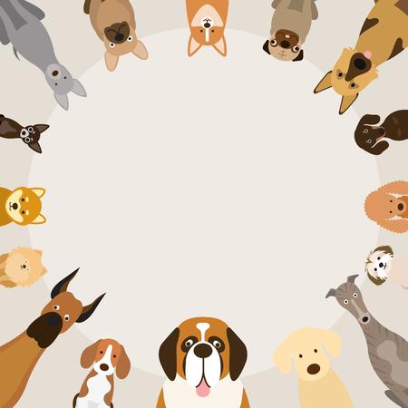 Dog Breeds, Round Frame, Front View, Vector Illustration