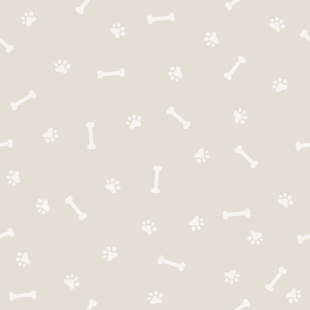 Dog Footprint and Bone Seamless Pattern, Background and light color