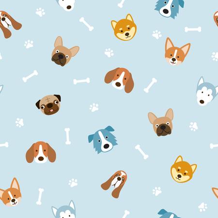 Dog Breeds Head Seamless Pattern, Blue Background, Footprint and Bone Stock Illustratie