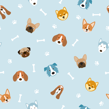 Dog Breeds Head Seamless Pattern, Blue Background, Footprint and Bone Illustration
