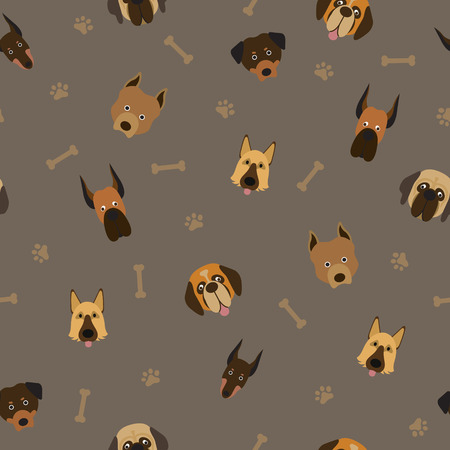 Dog Breeds Head Seamless Pattern, Dark Background, Footprint and Bone