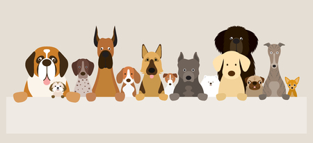 Group of Dog Breeds Holding Banner, Various Size, Front View, Pet