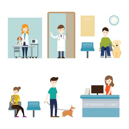 People in Veterinary Clinic Stock Illustratie
