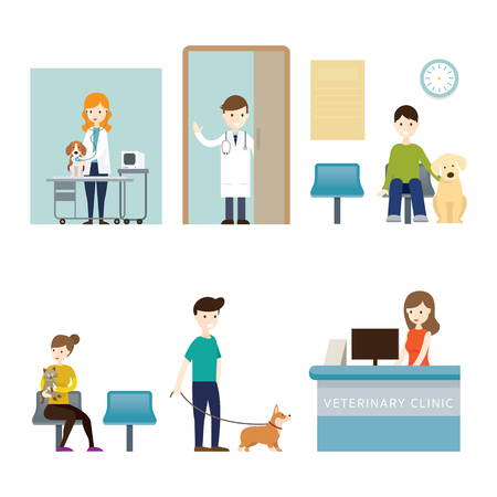 People in Veterinary Clinic Illustration