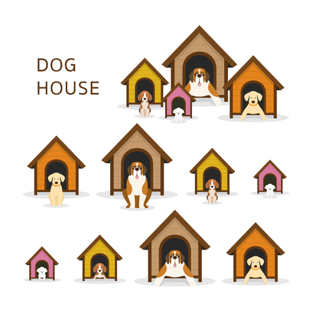 Dogs in Doghouse or Kennel Vectores