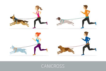 Menschen, die mit Hunden laufen, trainieren im Freien und joggen
