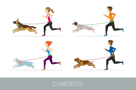 People Running with Dogs Sport Outdoor Training and Jogging Illustration