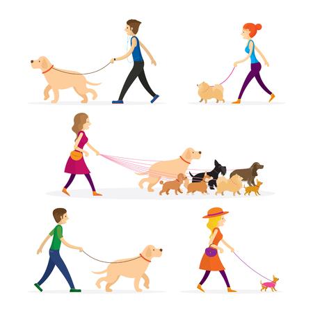 Conjunto de personas caminando con perros