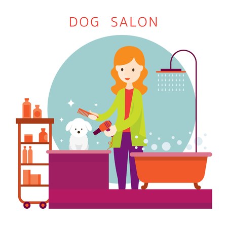 Woman with Dog in Grooming Shop Illustration