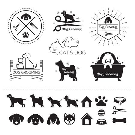 Mascotas Gatos y perros Logotipo Tienda de peluquería o salón