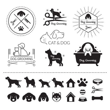 Pets Cats and Dogs Logo Grooming Shop or Salon