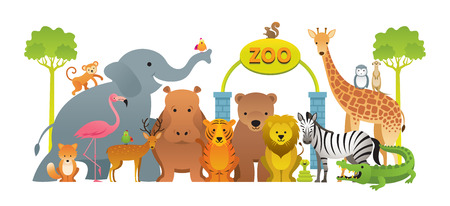 Groep wilde dieren, dierentuin, toegangsbord, kinderen en schattige cartoonstijl Vector Illustratie