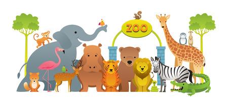 Groupe d'animaux sauvages, zoo, panneau d'entrée, enfants et style de dessin animé mignon Vecteurs