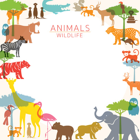 Group of Wild Animals, Zoo, Frame, Silhouette, Colourful Shape Flat Design
