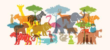 Gruppe von wilden Tieren, Zoo, Silhouette, bunte Form flaches Design