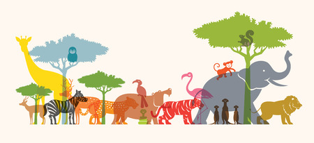 Group of Wild Animals, Zoo, Silhouette, Colourful Shape Flat Design