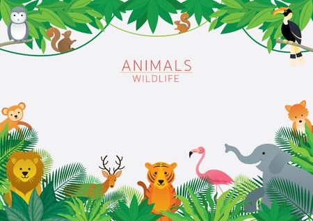 Animales salvajes en la selva, marco, niños y estilo de dibujos animados lindo